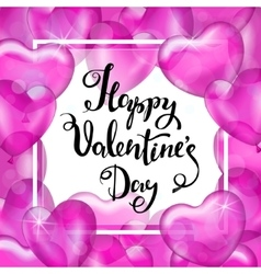 Happy Valentine s Day White Frame Pink Heart vector image vector image