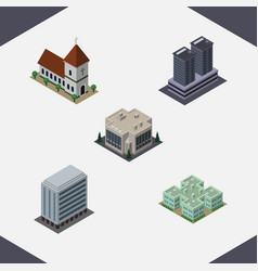Isometric architecture set of company tower vector