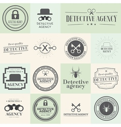 Label badges and stamps set for detective agency vector