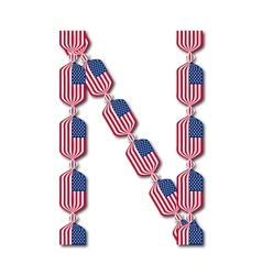 Letter N made of USA flags in form of candies vector image vector image