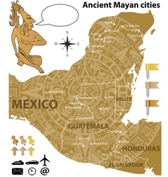 Map of the mayan cities in vintage style vector