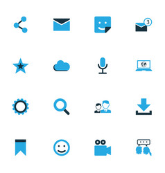 Media colorful icons set collection of share vector