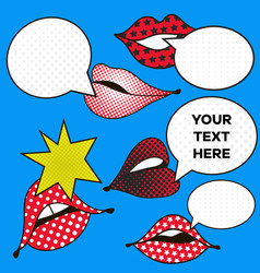 Mouth with speech bubbles in pop art style set of vector
