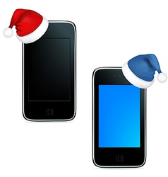 Phones With Caps Of Santa Claus vector image vector image