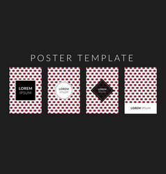 Poster set with red-grey circle shape pattern vector