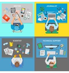 Professions 2x2 design concept set vector