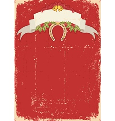Red christmas card with horseshoe on old vector