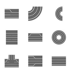 Road landscape icons set cartoon style vector
