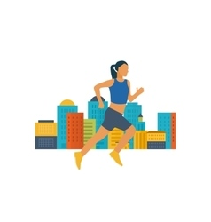 Running woman healthy lifestyle fitness vector