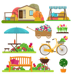 set of beautiful garden scene with flowers bike vector image
