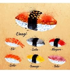 Sushi watercolor in kraft vector