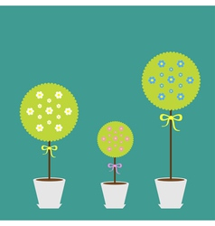 Tree set with flowers in the pot Flat design Flat vector image vector image