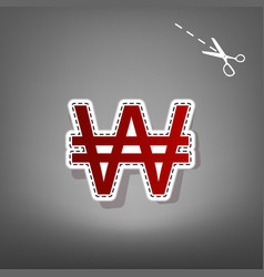 Won sign red icon with for applique from vector