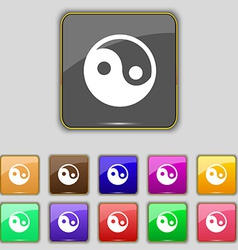 Ying yang icon sign set with eleven colored vector