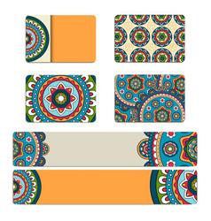 Mandala ornament business card or invitation vector image