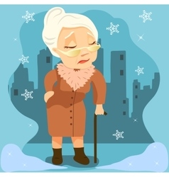 Old woman with cane on city background vector