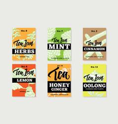 Hand drawn healthy tea brochures vector