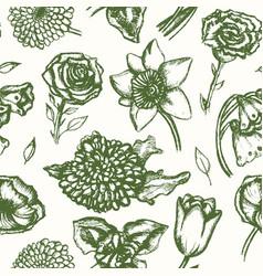 beautiful flowers - monochromatic hand drawn vector image