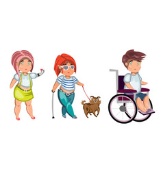 Disabled people isolated vector