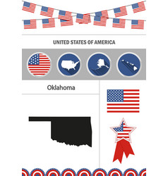 Map of oklahoma set of flat design icons vector