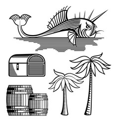 Fish treasure chest barrels and palm tree vector
