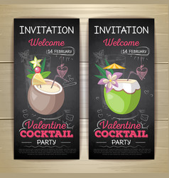 chalk drawing flat cocktail valentine party poster vector image