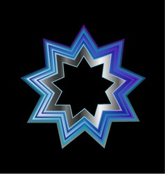 Bahai religion symbol- nine pointed star vector