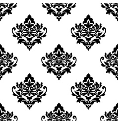 Black and white repeat floral arabesque pattern vector