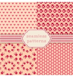 Romantic seamless patterns cover for vector