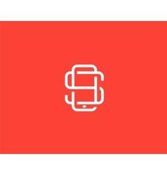 Letter S logo design Smartphone lined symbol vector image