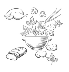 Sketch of cooking a dinner salad vector