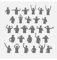 Male dj silhouettes wearing headphones vector