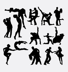 Happy dance couple silhouette vector image