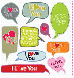 Speech bubbles retro design i love you vector