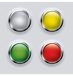 Button set with metallic elements on background vector