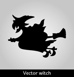 Witch flying image on grey background vector