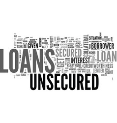 A quick guide to unsecured loans text word cloud vector