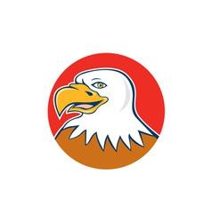 American bald eagle head smiling circle cartoon vector
