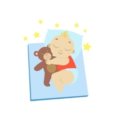 Baby In Red Sleeping With Teddy Bear vector image vector image