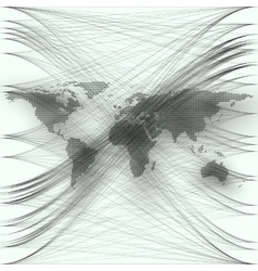 Black color dotted world map with abstract waves vector