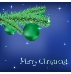 Christmas fir tree with green balls stars on a vector image