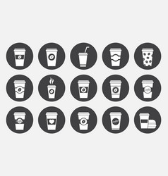 Coffee paper cup icons set vector