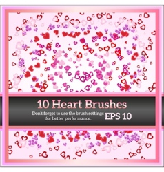 Colorful Hearts Brushes for Valentine Day vector image
