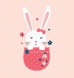 Cute with bunny girl vector
