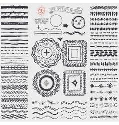 Doodle artistic pattern brusheswreathframeBlack vector image vector image