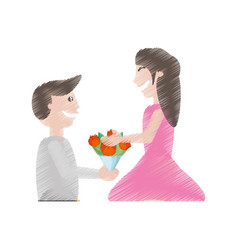 Drawing man proposal woman flowers vector