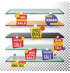empty supermarket shelves holidays christmas sale vector image vector image