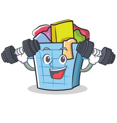 Fitness laundry basket character cartoon vector