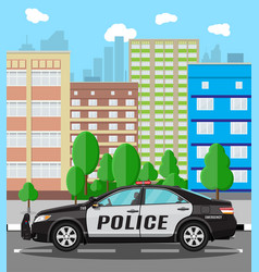 Generic police car at cityscape background vector