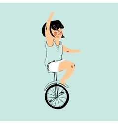 Girl is riding bike vector